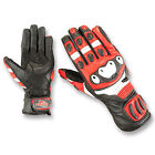 Playwell Bikers Storm Leather Motorcycle Gloves Red Motorbike Summer Race