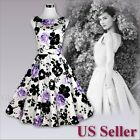 Women Elegant 50s Audrey Hepburn Party Prom Rockabilly Swing Vintage Dress