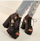 Womens Punk Gothic Chunky Heel High Platform Hollow Out Peep Toe Lace Up Sandals
