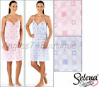 Ladies Strappy Gingham Heart Nightdress Chemise Nighte Pink/ Blue 10/12 14/16