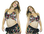 New Mardi Gras Halter Arabian Nights Belly Dancer Tribal Sequin Costume Bra Top