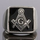 Men's Jewelry Stainless Steel Black Free Mason Masonic Freemasonry Finger Rings