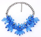 New Gorgeous Crystal Cluster Flower Bib Statement Chunky Collar Necklace TOPSELL