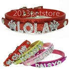 Bling Pet collars name rhinestone dog Personalized leather collar Cat Necklace