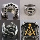 Men Stainless Steel Superman Masonic Cross Batman Claddagh Finger Biker Ring