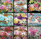 """Chiffon Scarf  60x20"""" Floral Peonies Turquoise Blue Red Pink Black Gray Gold USA"""
