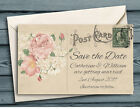 SAVE THE DATE MAGNETS Personalised Vintage Old Roses Mini Postcards & Envelopes
