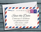 SAVE THE DATE MAGNETS Airmail Destination Wedding UK, Overseas or Beach Wedding