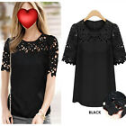 New Womens Short Sleeve Chiffon Lace Crew Neck Casual Shirt Blouse Top Sz S-XL