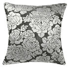 mq06a Silver Metallic Black Ash Grey Rose Shimmer Velvet Style Cushion Cover