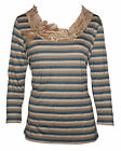 NEW Women Ladies Casual Knot Stripe Long Sleeve T-shirt size S-XXL