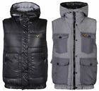 Voi Jeans Mens Reversible Hooded Gilet Padded Bodywarmer Vest Jacket Coat BNWT