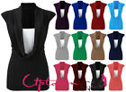 NEW WOMENS LADIES SLEEVELESS COWL SCOOP NECK WITH INSERT VEST CASUAL TOP 8-22