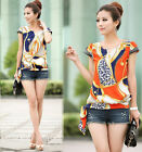 New Sexy Women Chiffon Tops V Neck Loose Blouse Casual T-Shirt Short Sleeve M-XL