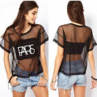 Sexy Women Loose Crop Top Blouse Crewneck Short Sleeved T-Shirt See-through Tops