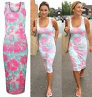 Celebrity Style Neon Floral Summer Midi Maxi Soft Stretch Bodycon Dress  uk