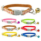 Nylon Paw Print Kitty Cat Collars with Bell for Puppy Kitten 16-23cm Adjustable