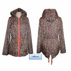 Ladies Womens Raincoat Mac Festival leopard print hood showeproof Jacket sz8-16