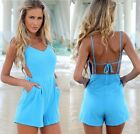 2014 Summer Sexy Women Celeb V-neck Backless Playsuit Beach Jumpsuit Shorts Hot
