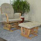 Deluxe Glider Rocking Chair Nursing & Maternity Chair Free Matching Stool Beech