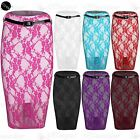 Womens Floral Lace Ladies Belt Celeb High Waist Lined Pencil Bodycon Midi Skirt