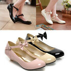 Womens Ladies Sweet Patent Bow Tie Ankle Strap Low Heel Pumps Lolita Shoes 666-2