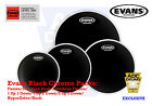 Evans Black Chrome Level 360 Tom Head Drum Skins: Fusion/Rock/HyperDrive + MORE!
