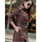 3 Colors Womens Slim lapels stitching Double Breasted faux leather jacket coat