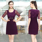 Ever Pretty Lace Rhinestones Purple Women Casual Party Club Summer Dresses 03811