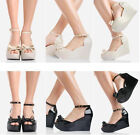 Fashion Womens Candy Jelly Pumps Wedge High Heels Platform Sandal Open Toe Shoes