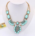 Bohemia Colored Sector Tear-drop Chandelier Tassel Bib Statement Chunky Necklace