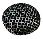 ms01n Black Shimmer Velvet Silver Sequins Checked Diamond Round Cushion Cover