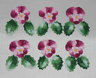 Hand Dyed Crochet Thread Beaded Applique Pansy/Flowers Pansies w Leaves Lot 2