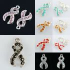 Crystal Rhinestone Ribbons Awareness Charms Pendant Beads Jewelry Making Finding