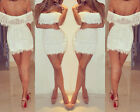 Sexy Womens Lace Hollow Clubwear Outfit Evening Cocktail Party Mini Dress S942BW