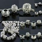 Wholesale White Crystal Rhinestone Metal Loose Beads Finding Fit Charms Bracelet