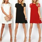 Womens Loose Casual Lace Splice Chiffon Short Sleeve Cocktail Club Party Dresses