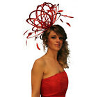 Red Feather Fascinator Hat  Choose any colour Satin & Feather