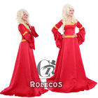 Girls Renaissance Medieval Game Red Costume Cosplay Dress Free shipping