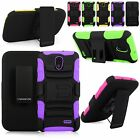 For LG Lucid 3 VS876 Verizon Hard Soft Hybrid Holster Belt Clip Kickstand Case