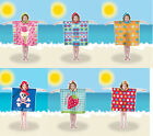 Kids Childrens Hooded Microfibre Poncho Beach Towel UV Protection Factor 40+