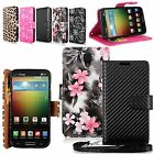 For LG Lucid 3 VS876 Pu Leather Flip Wallet Card Pocket Case Cover Stand w/Strap