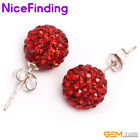 10mm Round Pava Rhinestone Balls Earrings Silver Plated Stud Fashion Jewelry