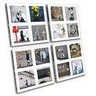 HD Collage Banksy Street MULTI CANVAS WALL ART Picture Print VA