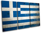 Abstract Greek Greece Maps Flags TREBLE CANVAS WALL ART Picture Print VA