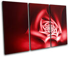 Roses Floral Abstract TREBLE CANVAS WALL ART Picture Print VA