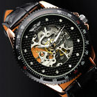 Steampunk Black Silver Skeleton Stainless Steel Mens Automatic Mechanical Watch