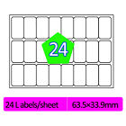 24 Labels Per A4 Sheet Address Labels Self Adhesive Sticky Peel Inkjet Copier