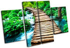 Forest Stream Landscapes MULTI CANVAS WALL ART Picture Print VA