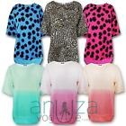 NEW WOMENS FLORAL LEOPARD TWO TONED HIGH LOW SHORT SLEEVE ROUND NECK TOP 8-14